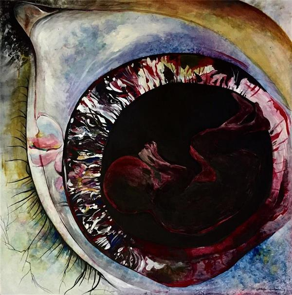 هنر نقاشی و گرافیک نقاشی چشم  ghafoorian The dream that it opened my eyes. (size: 80 . 80) اکرلیک