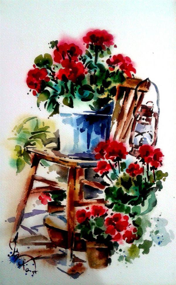 هنر نقاشی و گرافیک نقاشی گل azita flower , chair , watercolor , azita davarkhah