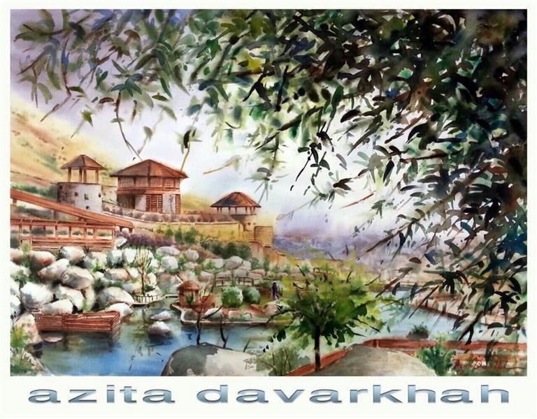 هنر نقاشی و گرافیک نقاشی طبیعت azita iran , tehran , Forest Park , watercolor , azita davarkhah