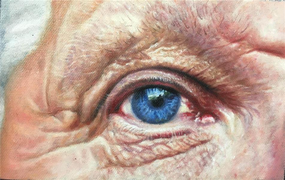 هنر نقاشی و گرافیک گالری اختصاصی هادی پاکتی و آزیتا داور خواه Hadipakati  رنگ روغن چشم آبی7 X 10