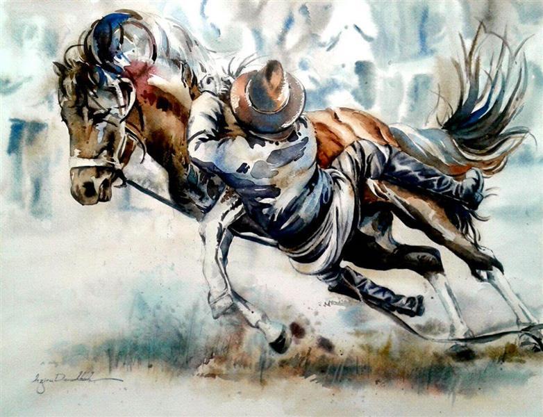 هنر نقاشی و گرافیک گالری اختصاصی هادی پاکتی و آزیتا داور خواه azita horseman , cowboy , watercolor , Azita davarkhah