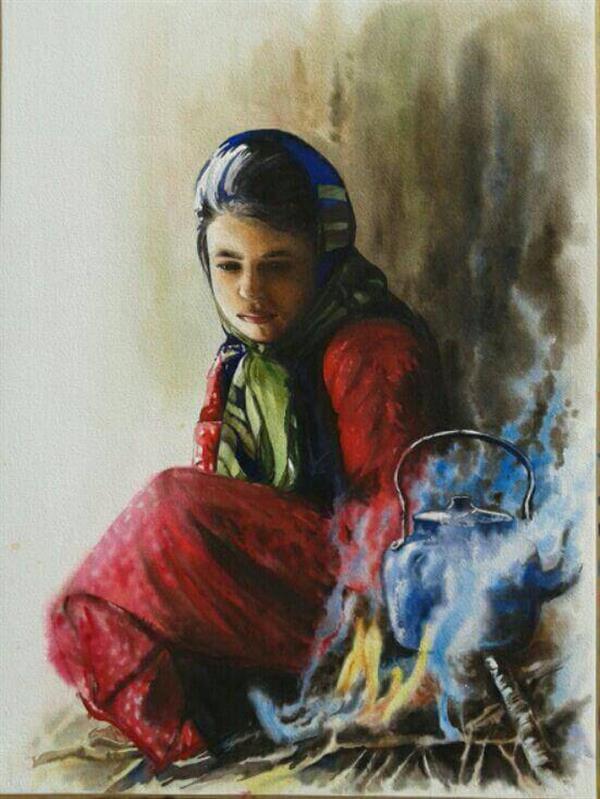 هنر نقاشی و گرافیک گالری اختصاصی هادی پاکتی و آزیتا داور خواه azita alone girl , village girl , Kettle , Fire , Steam , watercolor , azita davarkhah