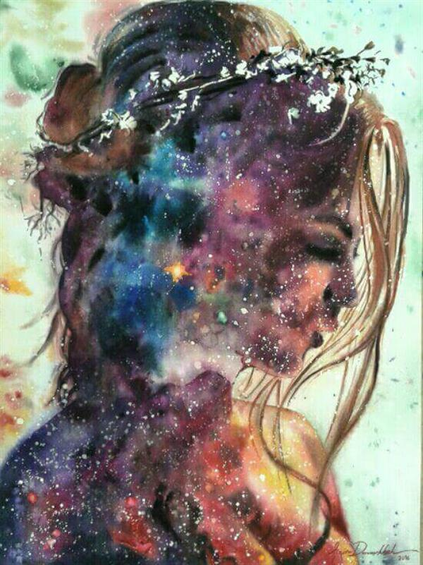 هنر نقاشی و گرافیک گالری اختصاصی هادی پاکتی و آزیتا داور خواه azita inside me , my thoughts , Galaxy , watercolor , azita davarkhah