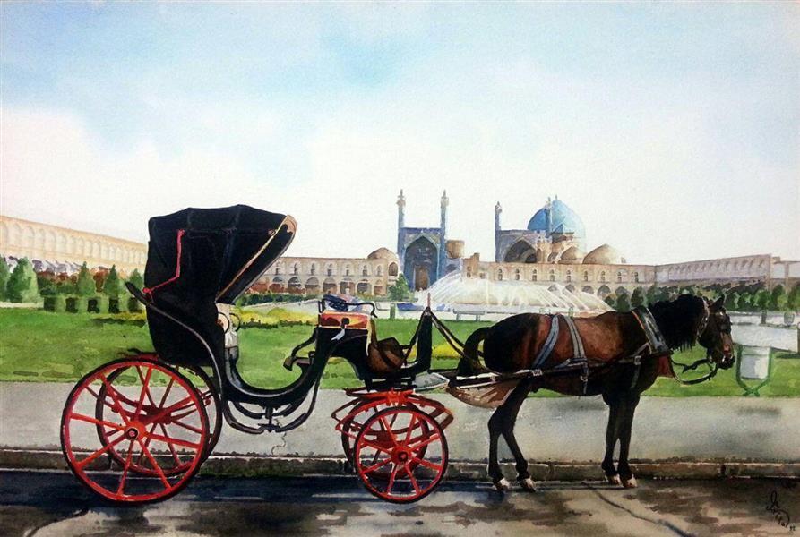 هنر نقاشی و گرافیک گالری اختصاصی هادی پاکتی و آزیتا داور خواه azita iran , Esfahan , Naghshe jahan , watercolor , Azita davarkhah