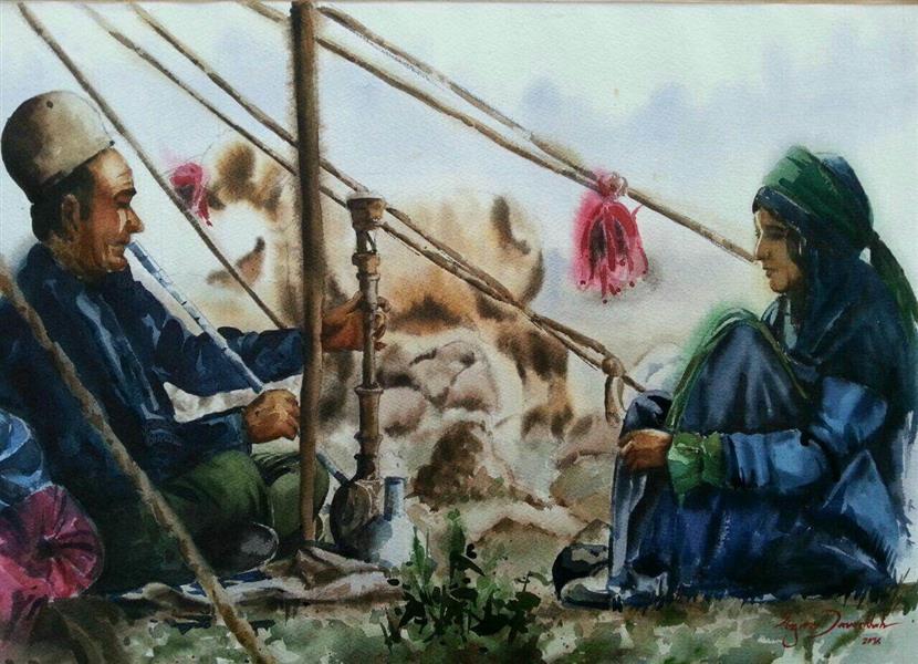 هنر نقاشی و گرافیک گالری اختصاصی هادی پاکتی و آزیتا داور خواه azita iran , Nomads , tent dweller  , Hookah , watercolor , azita davarkhah
