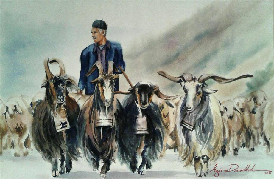 هنر نقاشی و گرافیک گالری اختصاصی هادی پاکتی و آزیتا داور خواه azita Shepherd , sheep , iran , watercolor , azita davarkhah