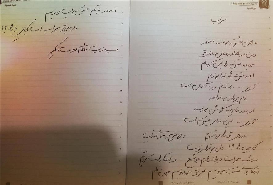 هنر شعر و داستان شعر سراب سیده زینت نظام دوست تکلیمی
