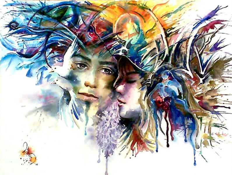 هنر نقاشی و گرافیک نقاشی جنگ رنگ ها azita war colors , love , portrait , watercolor , azita davarkhah