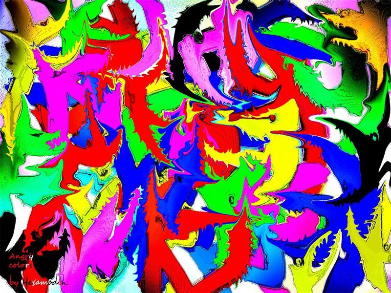 هنر نقاشی و گرافیک نقاشی جنگ رنگ ها Hesamodin