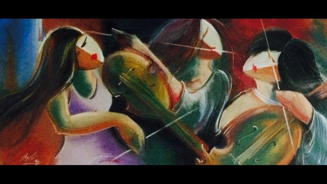 هنر نقاشی و گرافیک نقاشی جنگ رنگ ها نیلوفر