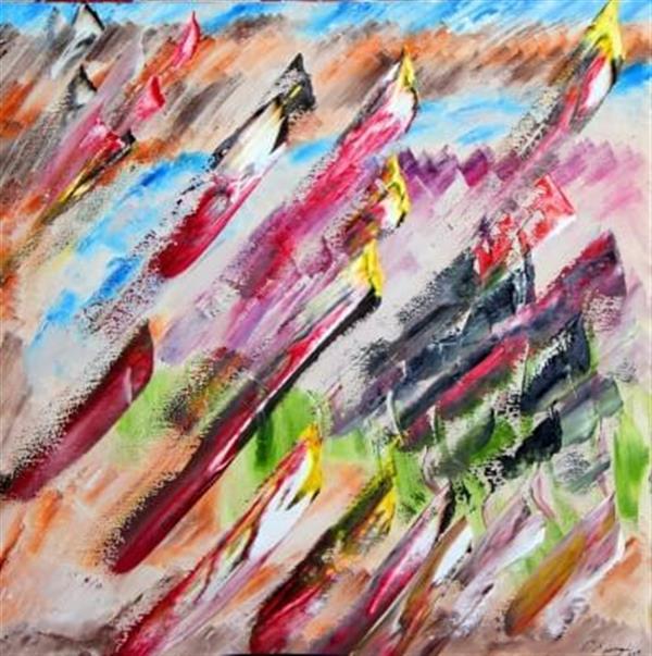 هنر نقاشی و گرافیک نقاشی جنگ رنگ ها محسن نراقی