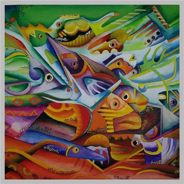 هنر نقاشی و گرافیک نقاشی جنگ رنگ ها Marjan keyvanrad