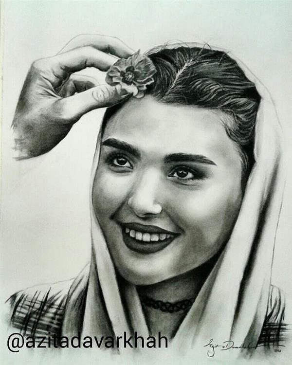 هنر نقاشی و گرافیک نقاشی پرتره (چهره) azita smile , love , Niello , azita davarkhah