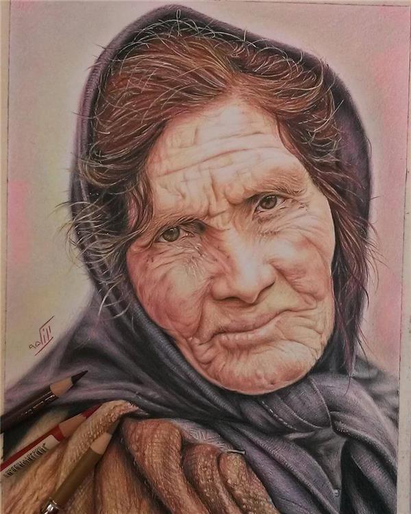 هنر نقاشی و گرافیک نقاشی پرتره (چهره) mona #مدادرنگی