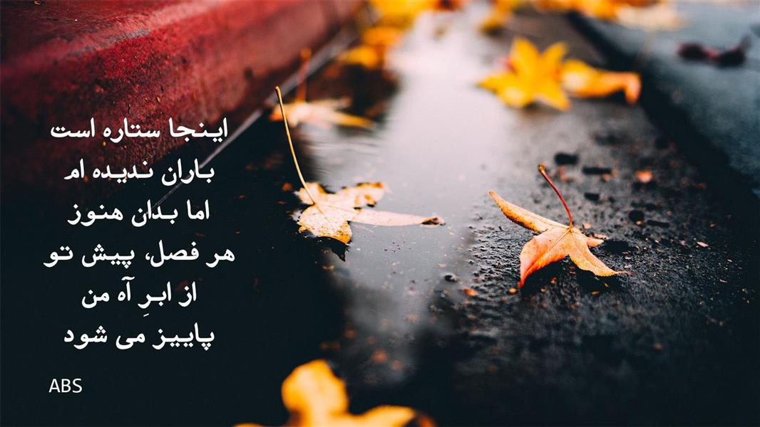 هنر شعر و داستان شعر فراق abs اینجا ستاره است  باران ندیده ام،  اما بدان هنوز  هر فصل ، پیش تو از ابرِ آه من، پاییز می شود. ABS
