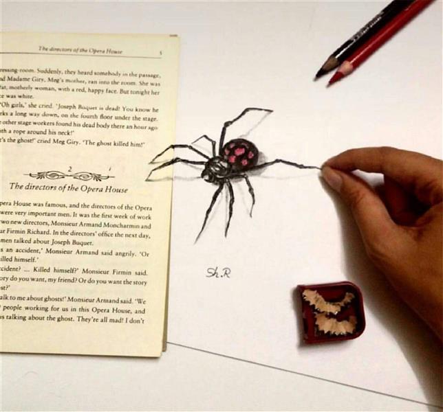 هنر نقاشی و گرافیک نقاشی سه بعدی شقایق رضایی این طرح عنکبوت رو به صورت خالکوبی دیده بودم قبلا و بعدا به ذهنم رسید به این حالت سه بعدی ترسیمش کنم