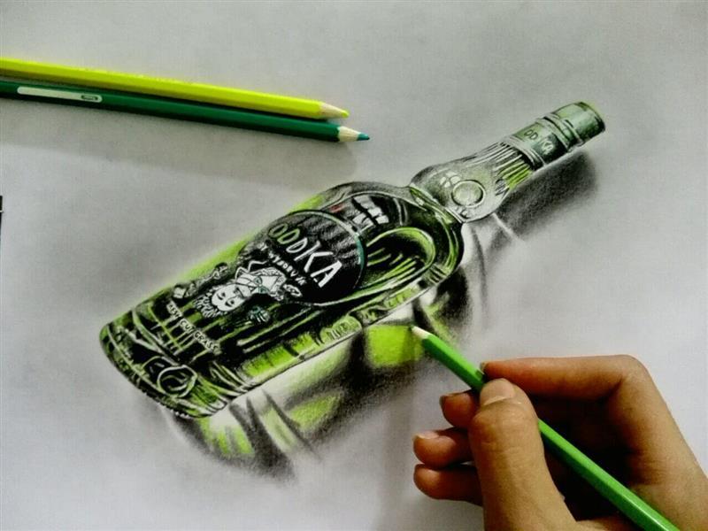 هنر نقاشی و گرافیک نقاشی سه بعدی مهران رحمانی تکنیک مدادرنگی از شیشه سه بعدی