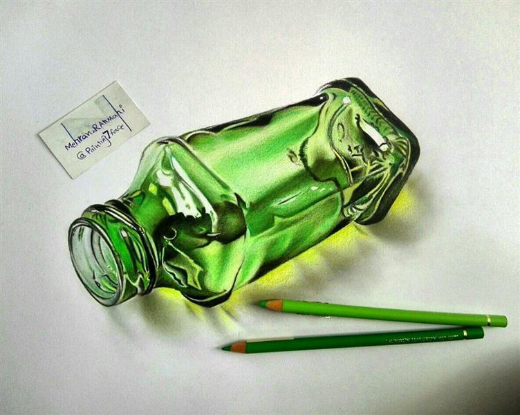 هنر نقاشی و گرافیک نقاشی سه بعدی مهران رحمانی شیشه سه بعدی با تکنیک مدادرنگی در ابعاد50 در40