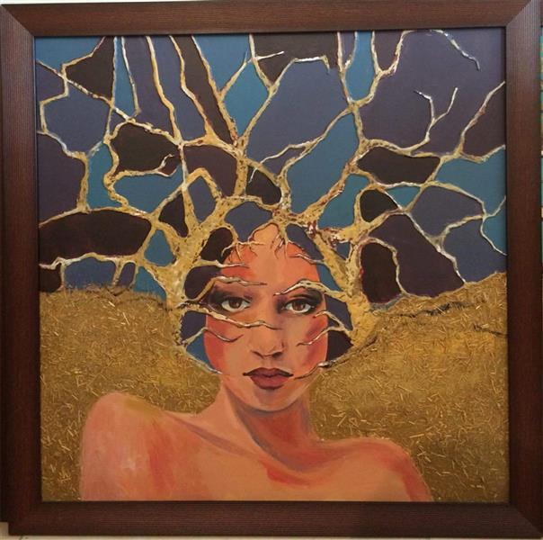 هنر نقاشی و گرافیک نقاشی بیان خویشتن ZarYas بیان خویشتن_عجین شدن مقام زن با طبیعت