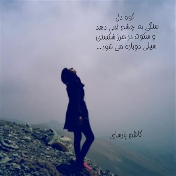 هنر شعر و داستان شعر سکوت کاظم پارسای کوهِ دل سنگی به چشم نمی دهد، و سکوت  در مرزِ شکستن سِیلی دوباره می شود !      کاظم پارسای