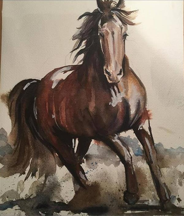 هنر نقاشی و گرافیک نقاشی حیوانات Fariba farzam آبرنگ  مقوای آرچ ابعاد ۵۰×۶۰