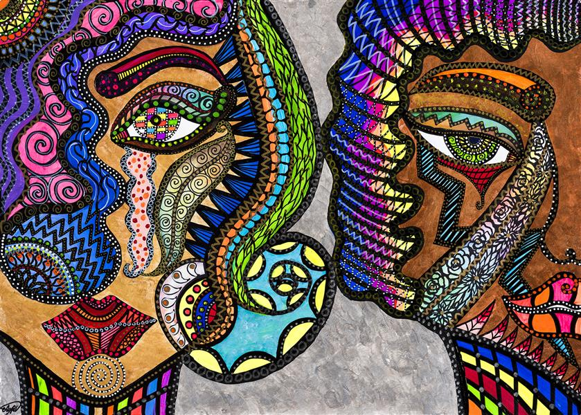 هنر نقاشی و گرافیک محفل نقاشی و گرافیک سپیده صاحبدل #سپیده صاحبدل #بلکلایت #اکرلیک #نام اثر جدایی #هنرمدرن #سایز ۵۰ در ۷۰  فایل اصلی کار قابل چاپ روی فرش پارچه کاغذدیواری و... میباشد
