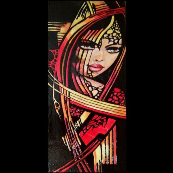 هنر نقاشی و گرافیک محفل نقاشی و گرافیک هنرهلیا(helias_art) آتش درون/هلیا دشت آرای/#helias_art #هنرهلیا #portrait #پرتره #تجسمی #هنرمدرن #نقش برجسته