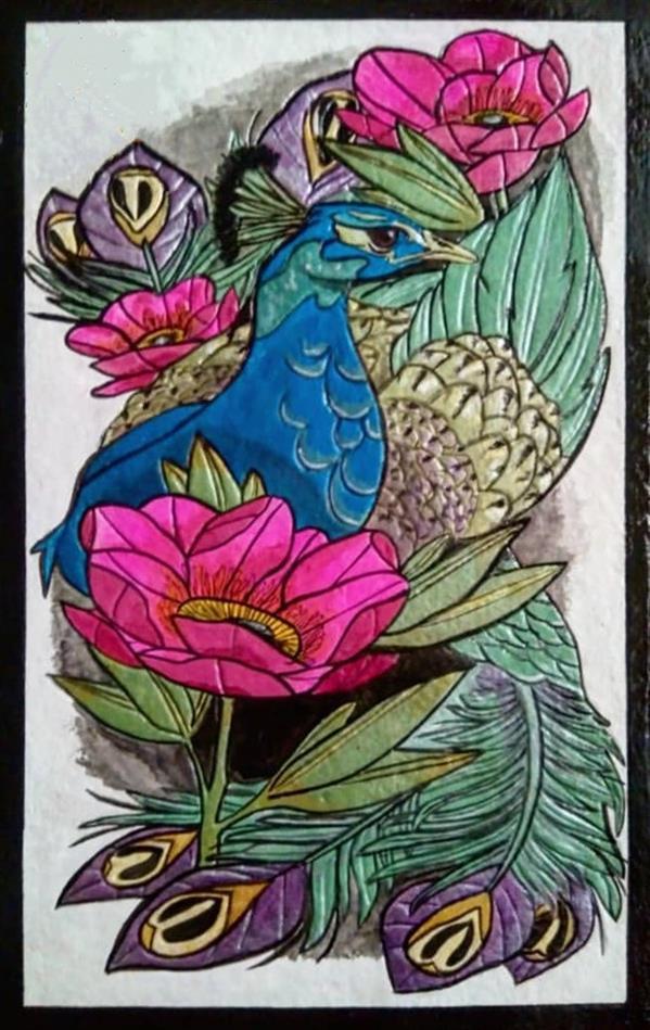 هنر نقاشی و گرافیک محفل نقاشی و گرافیک هنرهلیا(helias_art) #طاووس/هلیا دشت آرای#helias_art/تکنیک: اکریلیک/ترکیب مواد(نقش برجسته)/پایه تابلو:چوب ام دی اف