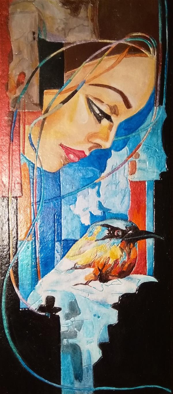 هنر نقاشی و گرافیک محفل نقاشی و گرافیک هنرهلیا(helias_art) در انتظار/هلیا دشت آرای/#helias_art #هنرهلیا #portrait #پرتره #تجسمی #هنرمدرن #نقش برجسته