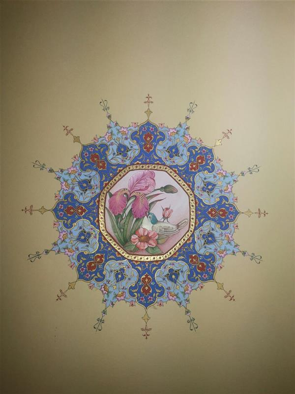 هنر نقاشی و گرافیک محفل نقاشی و گرافیک samane amoonabi شمسه#طلا و #گل و مرغ