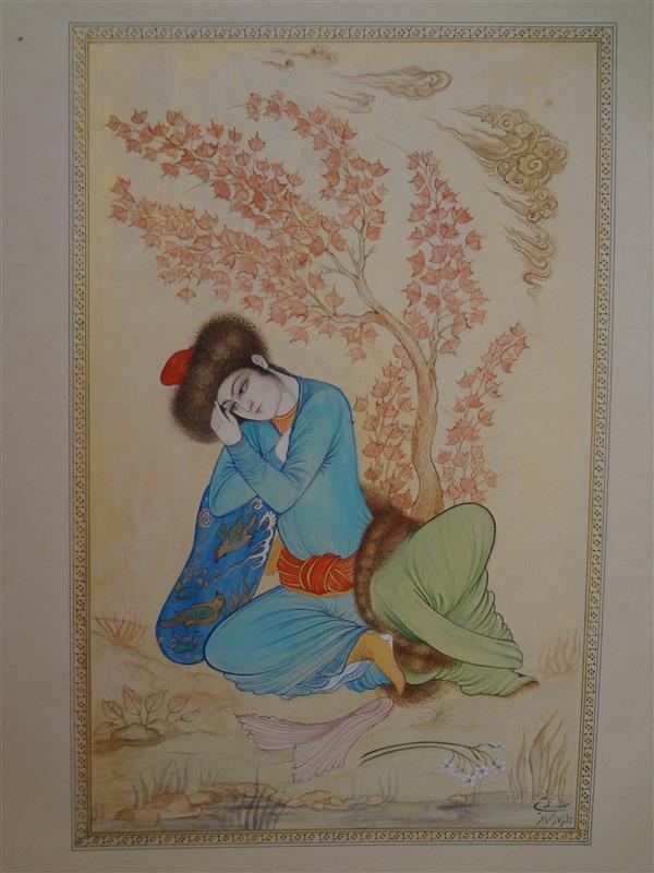 هنر نقاشی و گرافیک محفل نقاشی و گرافیک samane amoonabi #مینیاتور#تک چهره #مکتب اصفهان#مکتب صفوی 1387