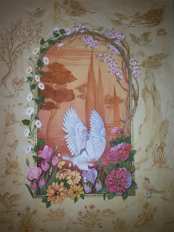 هنر نقاشی و گرافیک محفل نقاشی و گرافیک samane amoonabi #گل و مرغ 1394