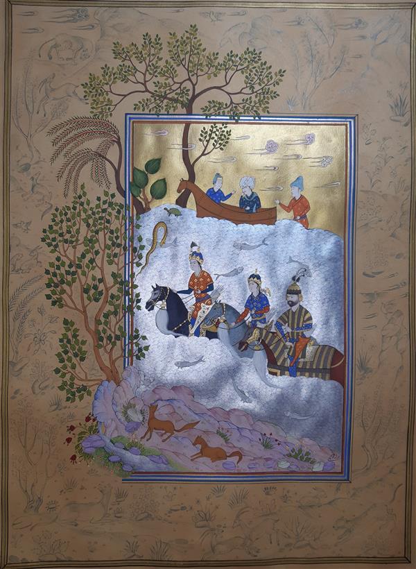 هنر نقاشی و گرافیک محفل نقاشی و گرافیک samane amoonabi گذر فرنگیس،گیو و کیخسرو از جیحون 1399 #مینیتنور#نگارگری#نقاشی
