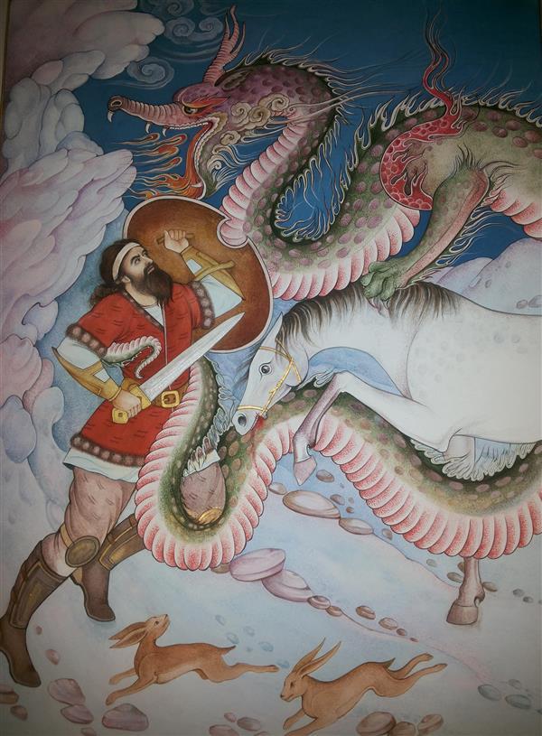 هنر نقاشی و گرافیک محفل نقاشی و گرافیک samane amoonabi خوان سوم رستم نبرد با اژدها
