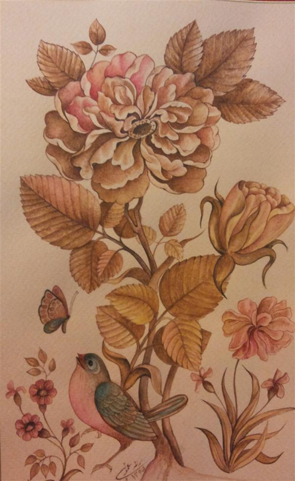 هنر نقاشی و گرافیک محفل نقاشی و گرافیک samane amoonabi گل و مرغ اجرا به شیوه پرداز و تک رنگ