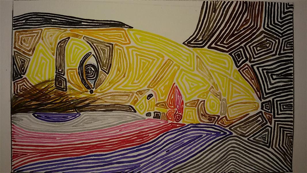 هنر نقاشی و گرافیک محفل نقاشی و گرافیک ساناز ابراهیمی از مجموعه سورئال بیخوابی آبرنگ بر روی مقوا