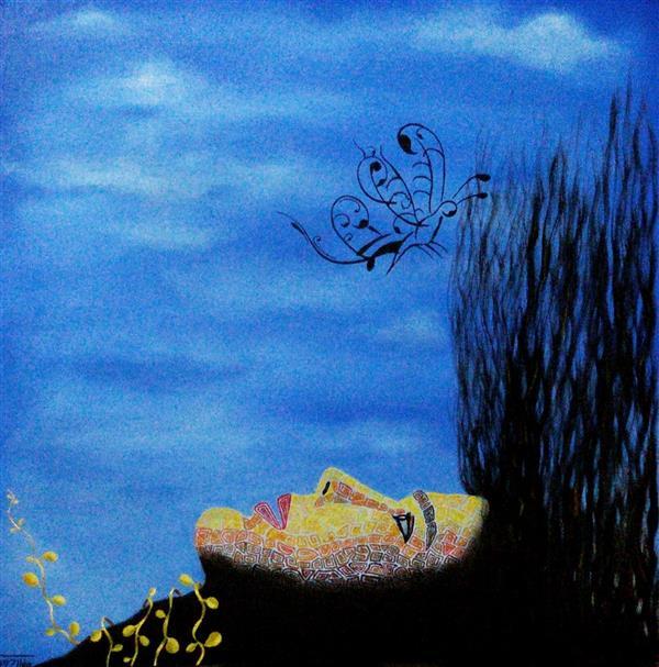 هنر نقاشی و گرافیک محفل نقاشی و گرافیک ساناز ابراهیمی مجموعه سورئال(بیخوابی)_سلف پرتره رنگ و روغن روی بوم 40×40