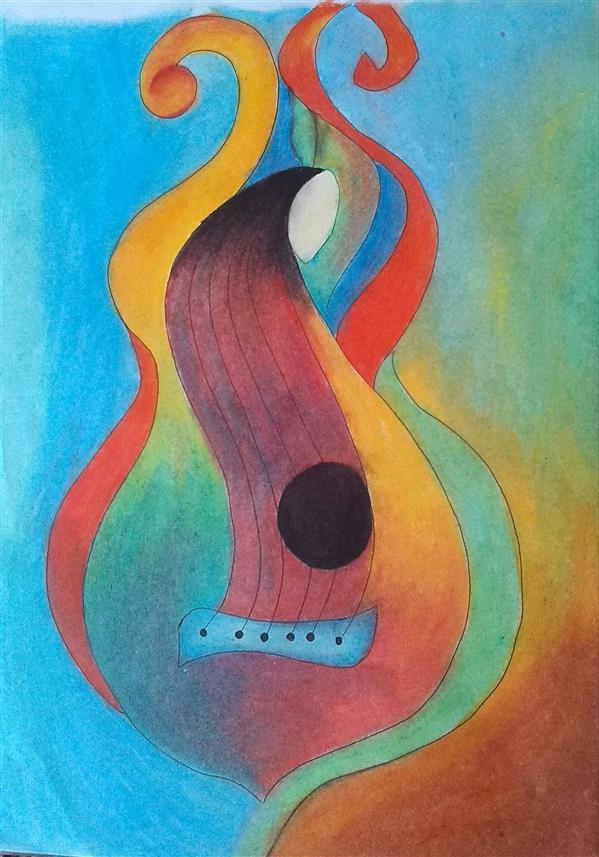 هنر نقاشی و گرافیک محفل نقاشی و گرافیک مریم خدیوی  #پاستل روغنی#گیتار#نقاشی#نقاشی مدرن#هنر#هنرمدرن