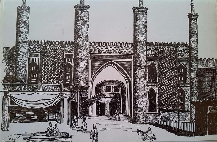 هنر نقاشی و گرافیک محفل نقاشی و گرافیک مریم خدیوی  تهران قدیم #روانویس#راپید#تهران-قدیم