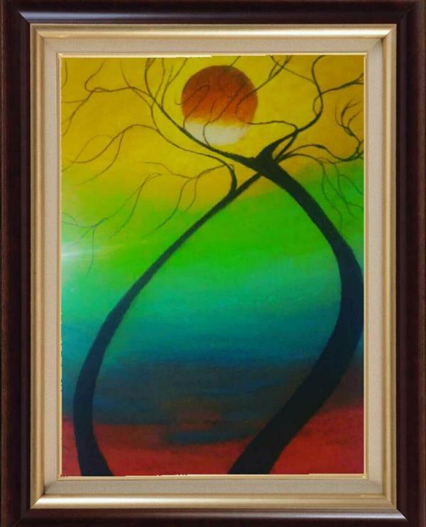 هنر نقاشی و گرافیک محفل نقاشی و گرافیک مریم خدیوی  نام هنرمند:مریم خدیوی نام اثر:حمایت ابعادA3 #پاستل روغنی#نقاشی مدرن#آبستره#آسمان#درخت#خورشید