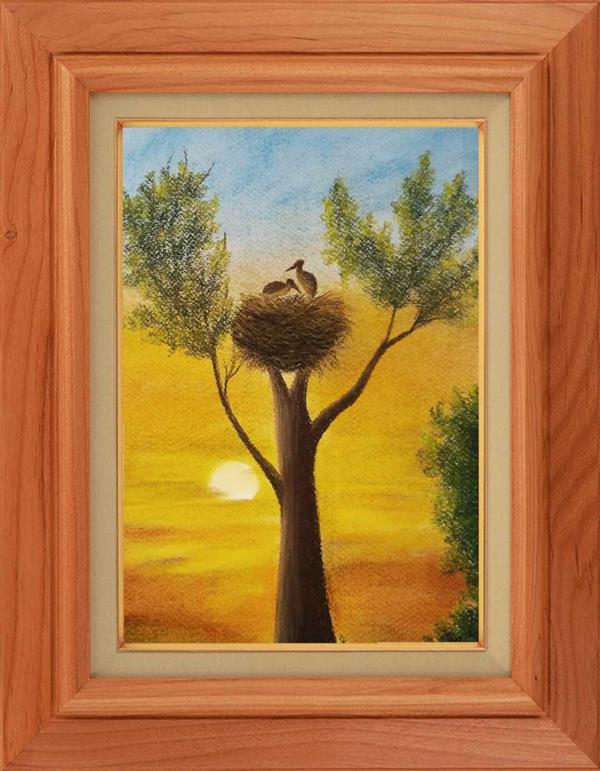 هنر نقاشی و گرافیک محفل نقاشی و گرافیک مریم خدیوی  نام هنرمند:مریم خدیوی نام اثر:تولد ابعادA3 #پاستل گچی#غروب#نقاشی مدرن#پرنده#آسمان#درخت#لانه