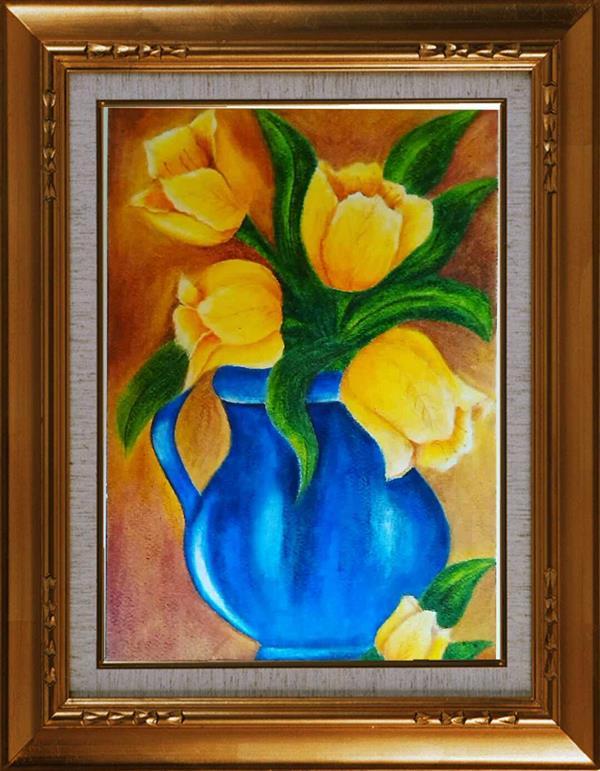 هنر نقاشی و گرافیک محفل نقاشی و گرافیک مریم خدیوی  نام هنرمند:مریم خدیوی نام اثر:گلدان آبی ابعادA3 #پاستل روغنی#گل#گلدان#کلاسیک