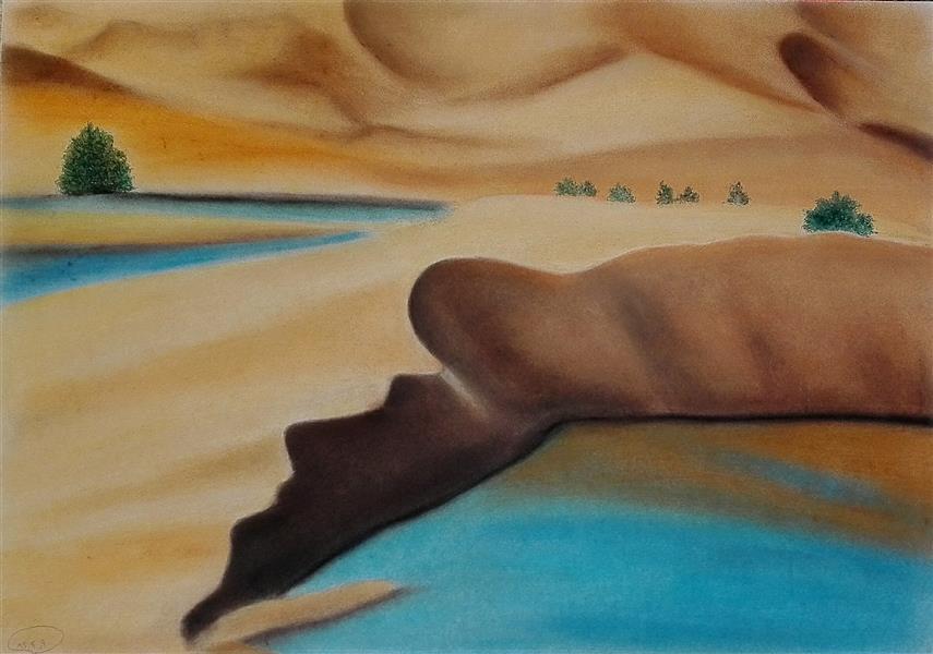 هنر نقاشی و گرافیک محفل نقاشی و گرافیک مریم خدیوی  #پاستل گچی#واحه#کویر#صحرا#هنر