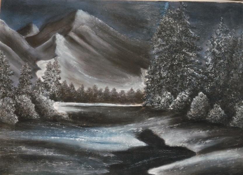 هنر نقاشی و گرافیک محفل نقاشی و گرافیک مریم خدیوی  #پاستل گچی#زمستان#کوهستان#نقاشی