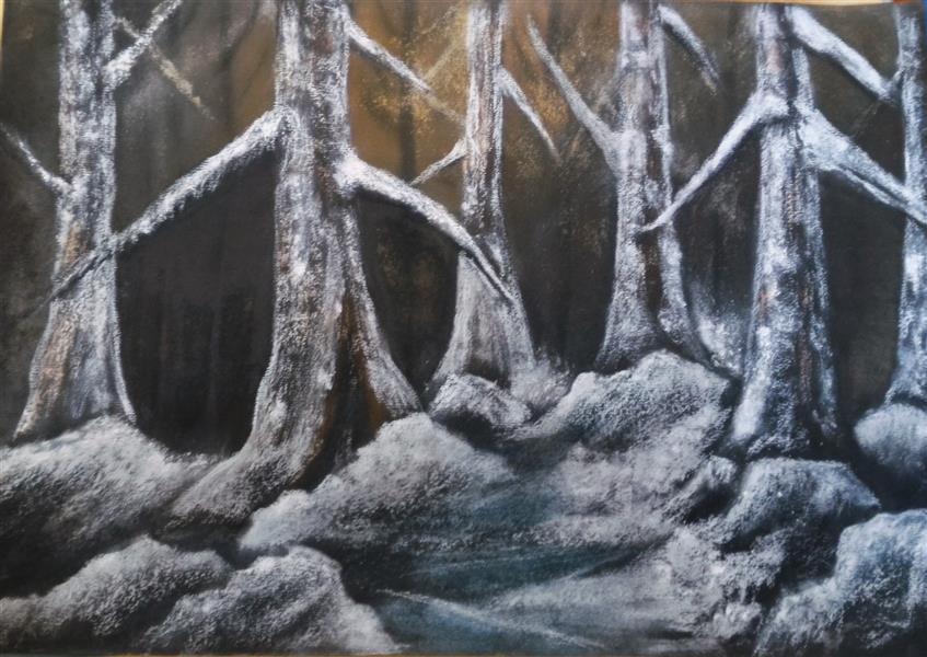 هنر نقاشی و گرافیک محفل نقاشی و گرافیک مریم خدیوی  #پاستل_گچی#نقاشی#منظره برفی