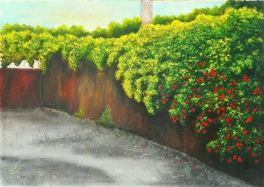 هنر نقاشی و گرافیک محفل نقاشی و گرافیک مریم خدیوی  #رنگ روغن روی کاغذ#کوچه باغ ابعاد ۳۵در۵۰