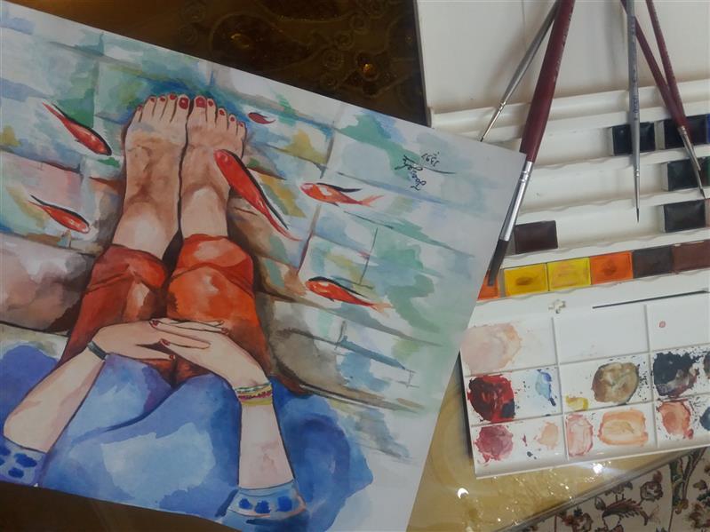 هنر نقاشی و گرافیک محفل نقاشی و گرافیک فائزه حیدریان  تو ماهی و من ماهی این برکه کاشی ...  اندوه بزرگیست زمانی که نباشی ...  آه از نفس پاک تو ؛ صبح نشابور ... از چشم تو چشم تو حجره فیروزه تراشی ... تکنیک : آبرنگ