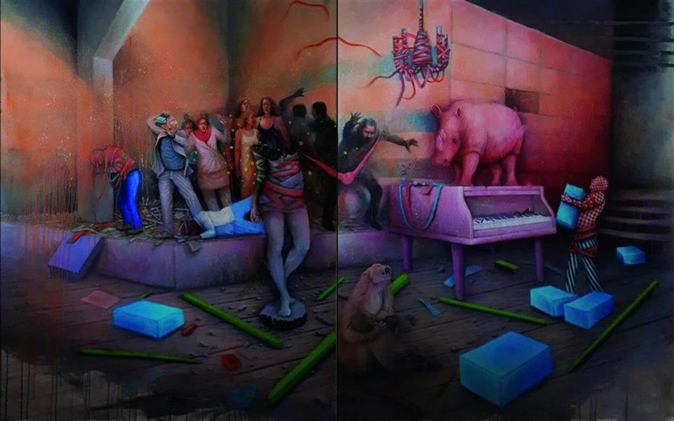 هنر نقاشی و گرافیک محفل نقاشی و گرافیک Amirreza koohi تکنیک: رنگ روغن و اکرولیک(دو لت) ابعاد: ۲۰۰cm × ۳۰۰cm