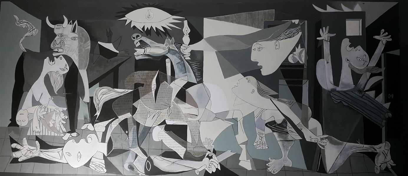 هنر نقاشی و گرافیک محفل نقاشی و گرافیک Emad Qanbari Guernica (pablo picasso) in wall at rasturant primo palas in abadan 480cm×230cm