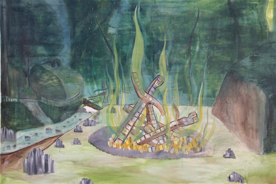 هنر نقاشی و گرافیک محفل نقاشی و گرافیک Emad Qanbari جنگ#چوبها در کمپ جنگل عباس آباد۱۰۰cm×۱۵۰cm